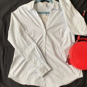🍒V neck button down blue & white with 🍒 design